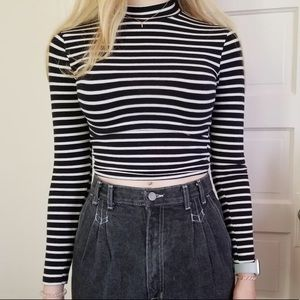 Topshop Striped Cropped Turtleneck Shirt